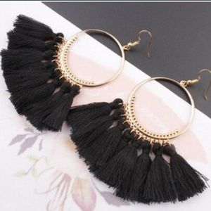 Jewelry - The Vivi Boho Black Tassle Earring